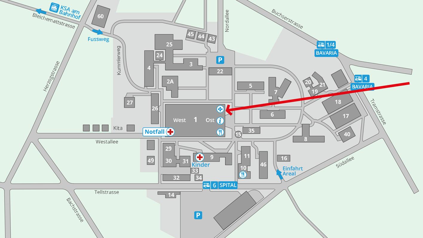 Lageplan – Notfallapotheke auf dem Areal des Kantonsspitals Aarau