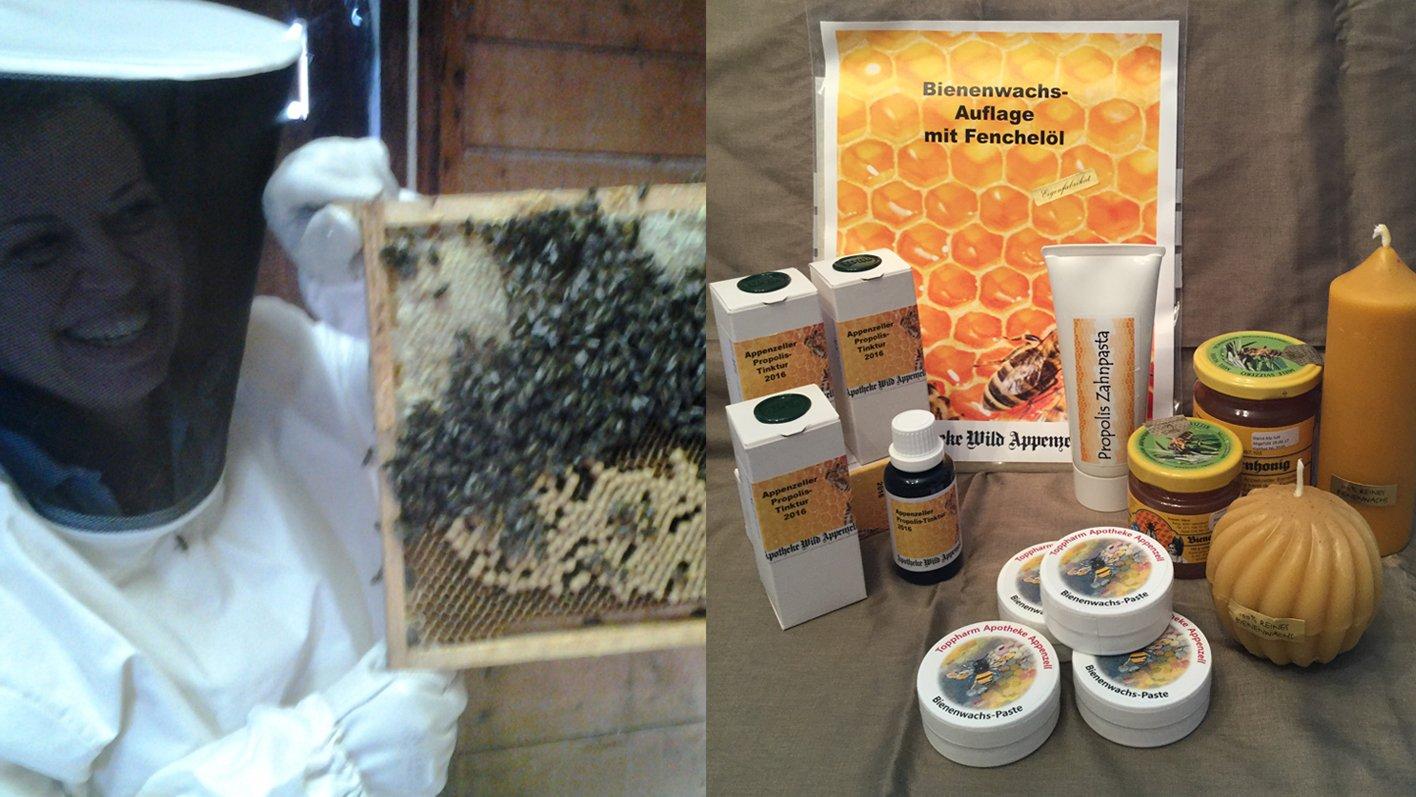 Propolis-Tinktur, Propolis-Zahnpasta, Propolis-Salbe, Bienenwachs-Auflage, Bienenwachs-Paste, Bienenwachskerzen, Blütenhonig - erhältlich in der TopPharm Apotheke Appenzell