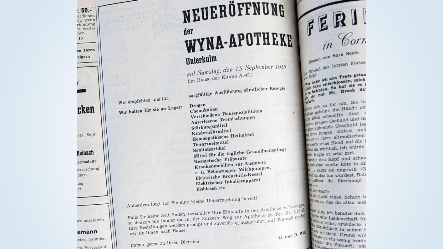 Geschichte der TopPharm Wyna Apotheke in Unterkulm (AG)